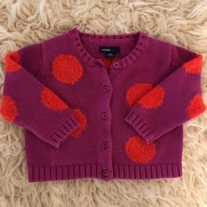 GAP large fuzzy dot cardigan sweater